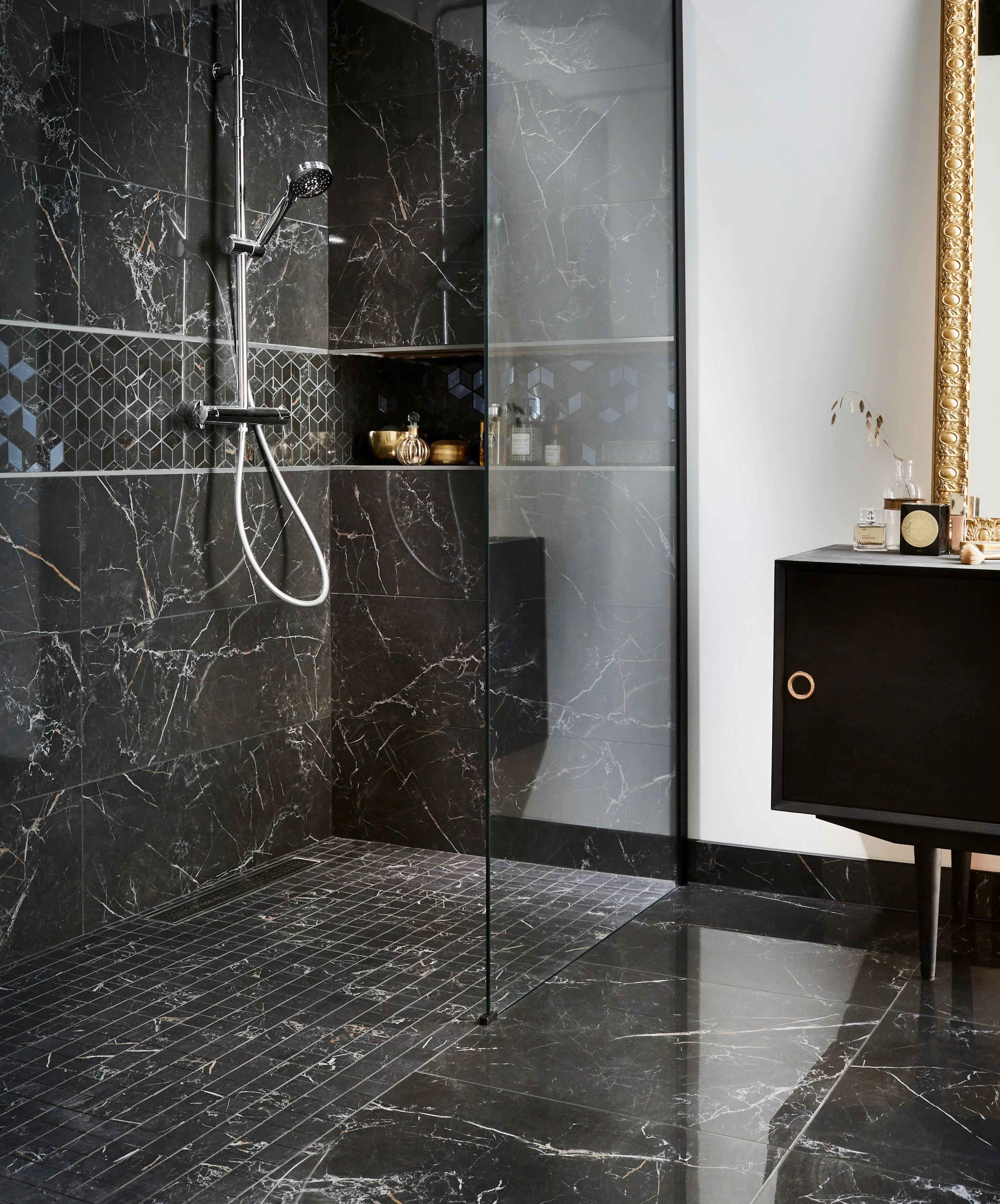 carrelage mur intenso marbre noir gold brillant l 30 5 x l 91 5 cm murano leroy merlin