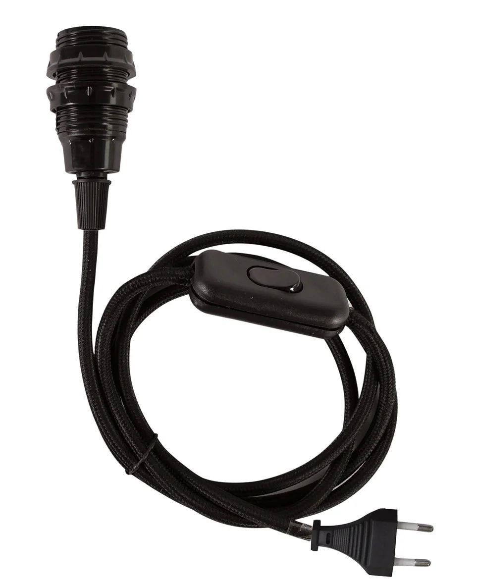 Cable Textile Interrupteur Noir Douille E14 1 50 M Tibelec Leroy Merlin