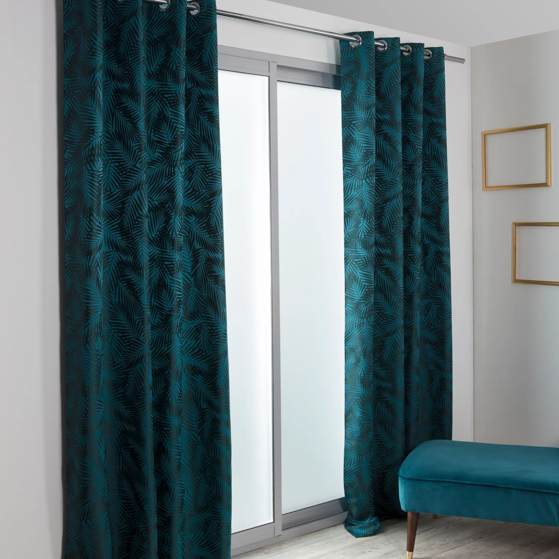 rideau tamisant nerea bleu vert l 140 x h 260 cm