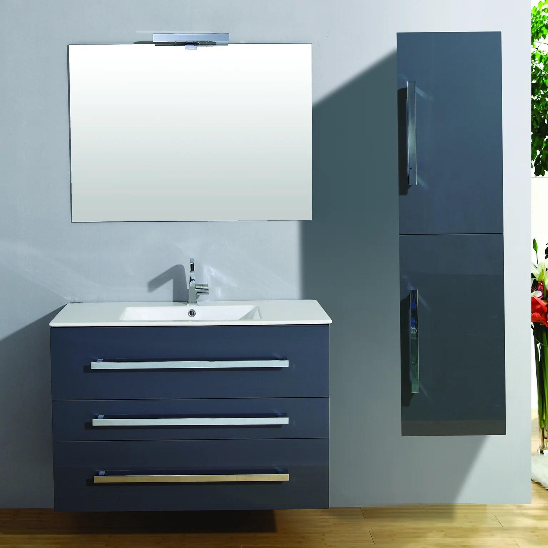 meuble salle de bains 5 pieces senso l 100 x h 68 x p 50 cm gris brillant sen leroy merlin
