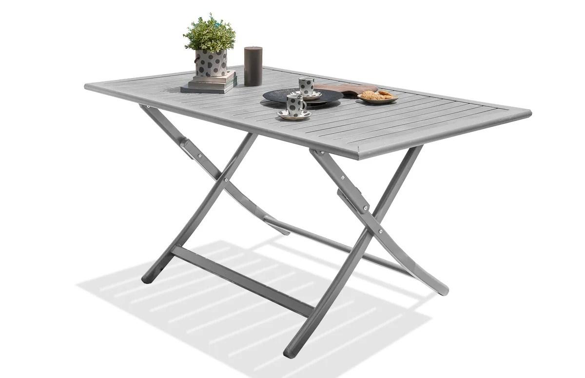 table de jardin de repas marius rectangulaire gris metal 4 6 personnes