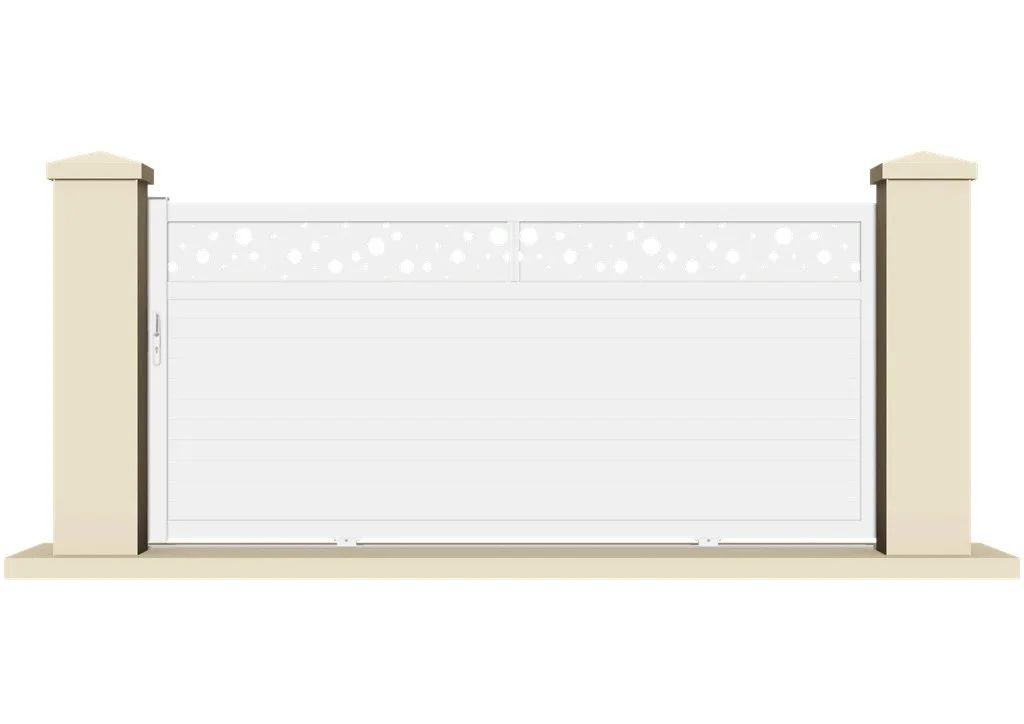 Portail Coulissant Pvc Olivet Blanc L 355 X H 170 Cm Leroy Merlin