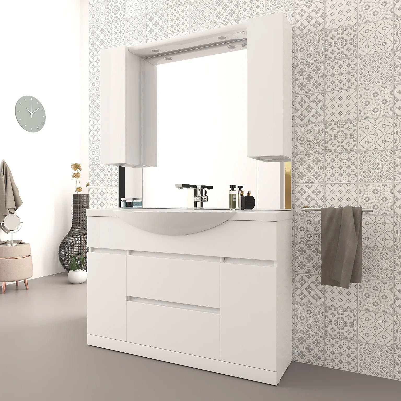 Ensemble De Meuble Vasque Et Miroir L 120 X H 190 Blanc Brillant Elise Leroy Merlin