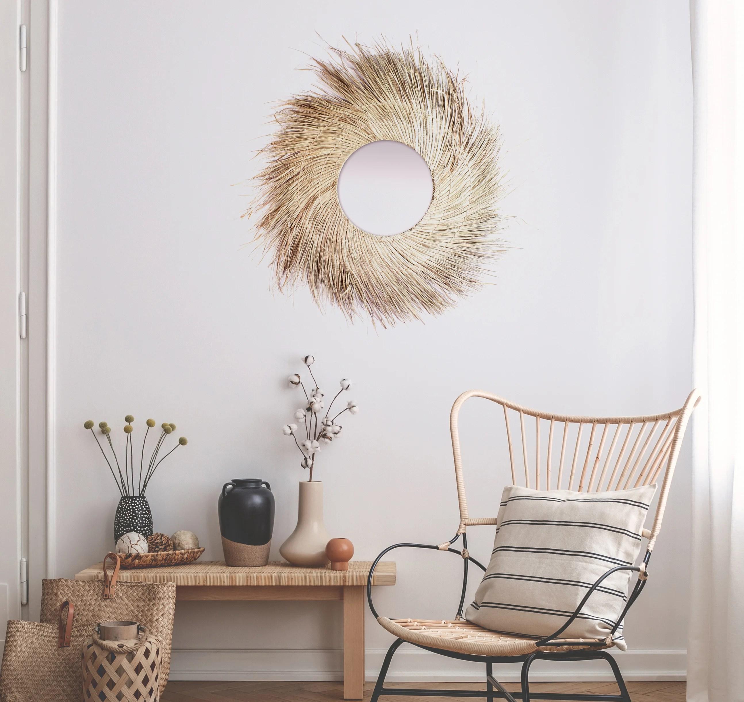 miroir rond fibre coco naturel diam 90 cm leroy merlin