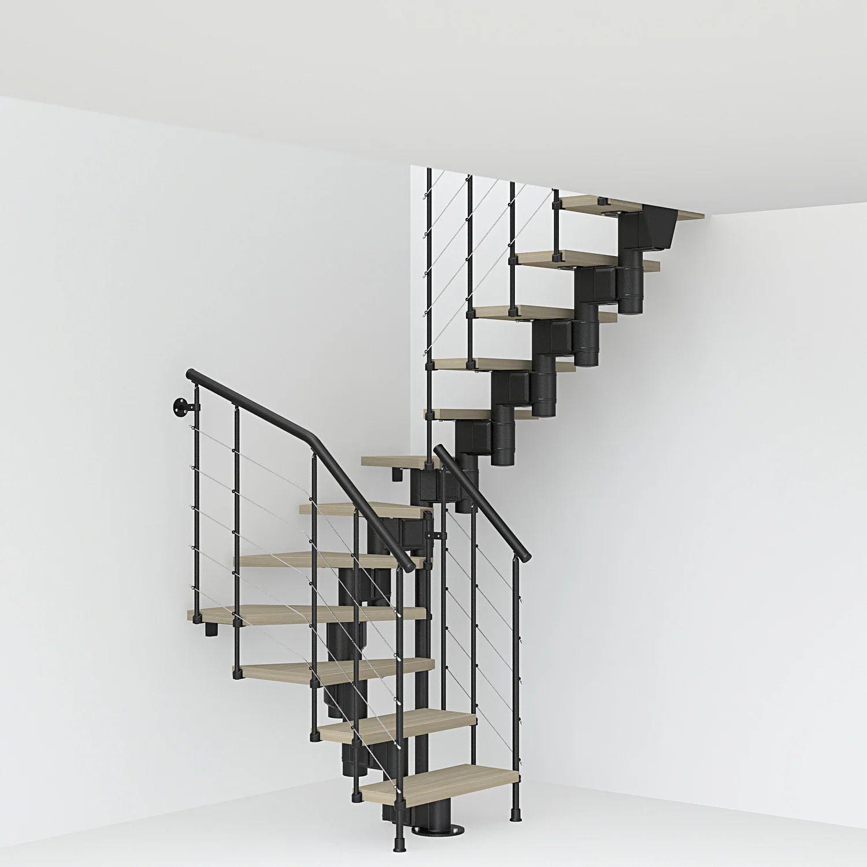 Escalier 2 4 Tournant Revers Acier Noir Long Tube 12 Mar Orme Clair L 75 Cm Leroy Merlin