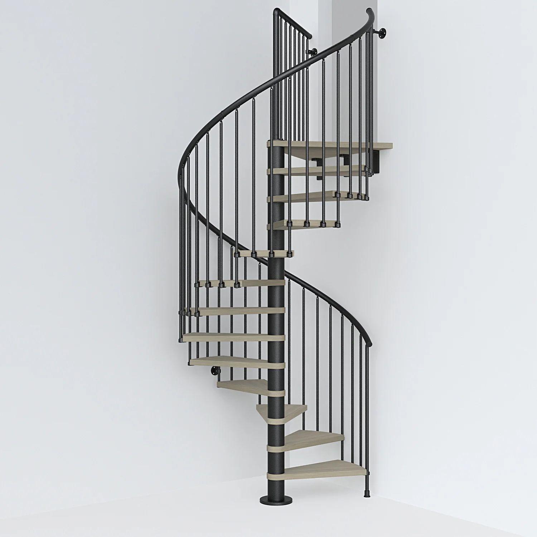 Escalier Colimacon Rond Revers Acier Noir Ring 12 Marches Orme Clair 138 Cm Leroy Merlin