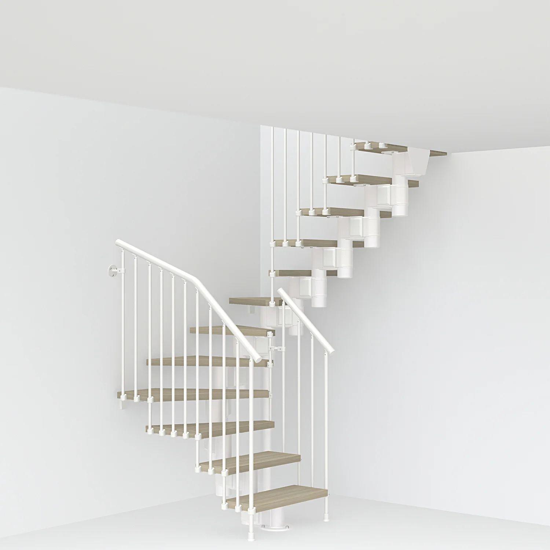 Escalier 2 4 Tournant Revers Acier Blanc Long 12 Mar Orme Clair L 80 Cm Leroy Merlin