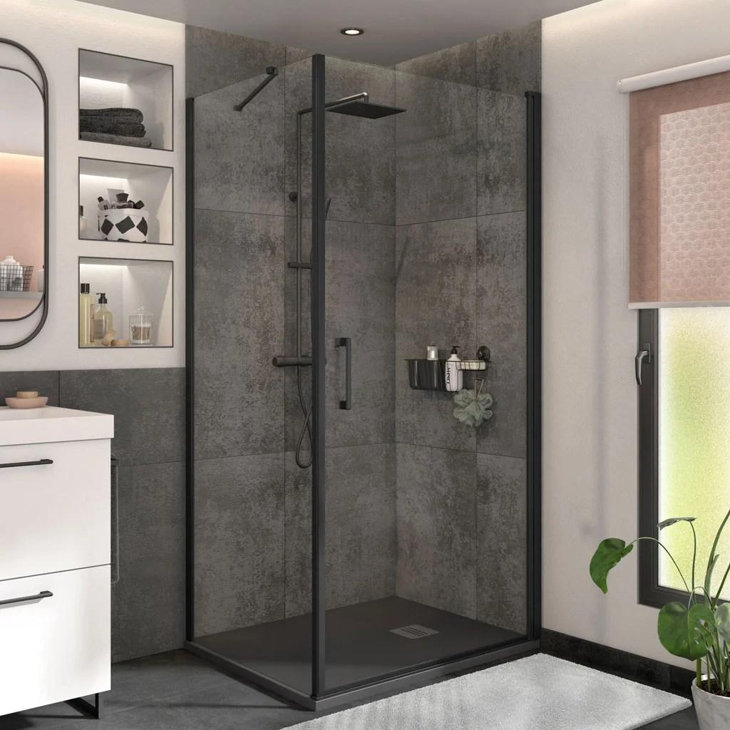 porte de douche et paroi pivotante noir 100 cm 80 cm remix