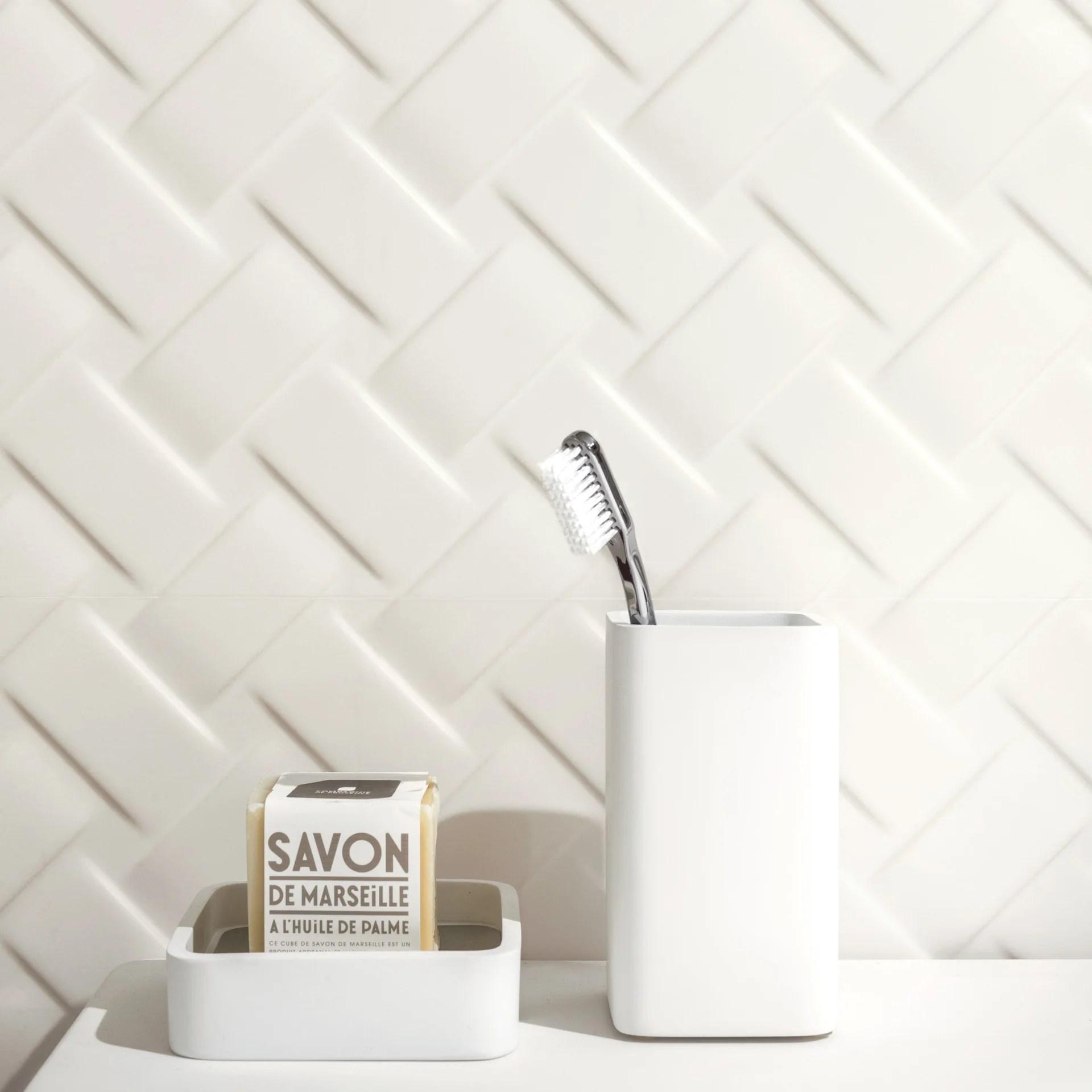 carrelage mur relief blanc mat l 25 x l 75 cm metrochic metropaper 3d leroy merlin