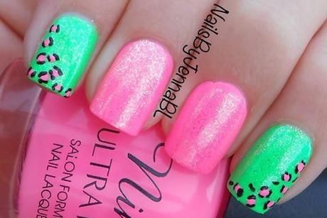 Pink And Green Nail Art Designs