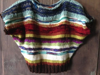 scrap yarn knit into a sweater