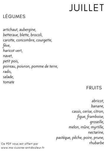 Fruits et légumes juillet éco-impression
