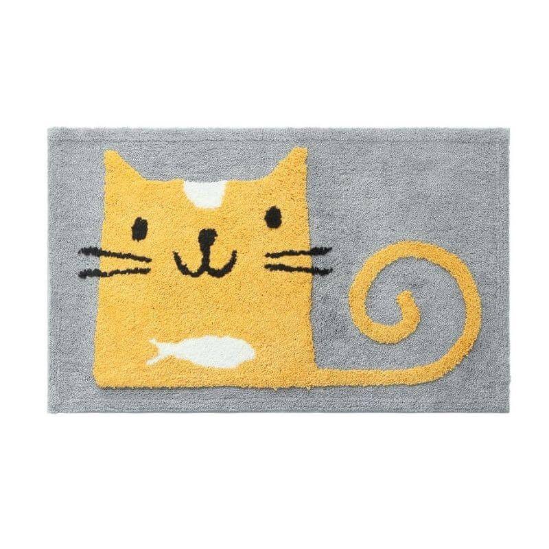 tapis chat jaune floque