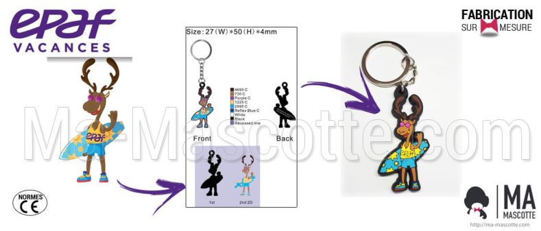 Custom Made PVC Keychain reindeer EPAF (custom keychain).