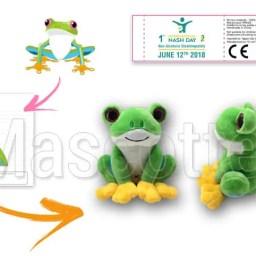 Fabrication Peluche Sur Mesure grenouille CLUB ALPES PYRÉNÉES (peluche animal sur mesure)