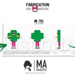 Fabrication Mascotte Sur Mesure trèfle PMU GABON (mascotte objet sur mesure).