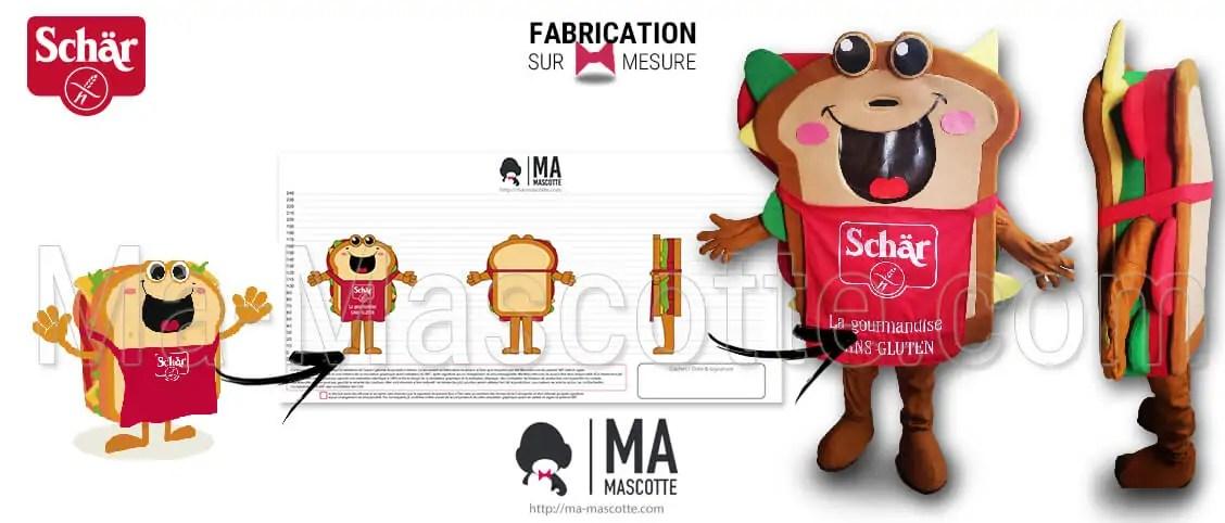 SCHAR Sandwich Mascot Costume. Custom sandwich-shaped mascot with an apron for the SCHAR brand. GMS advertising mascot.