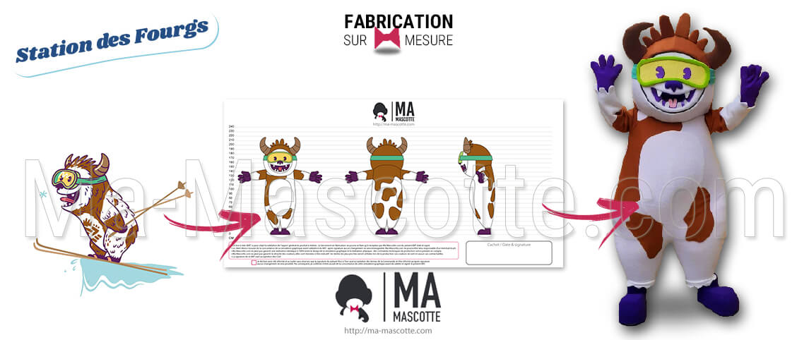 Custom mascot of a Yeti cow for the Fourgs ski resort. Cow mascot for the station's commercial events.