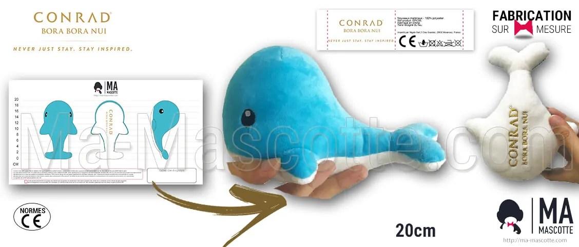 Whale plush toy custom made realization for the CONRAD hotel at Bora Bora. Whale customized plush toy.