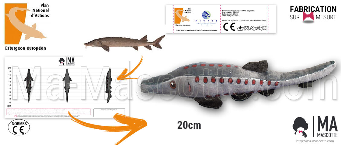 Sturgeon fish plush. Manufacture of a sturgeon fish plush for the National Action Plan. Original custom plush toys.