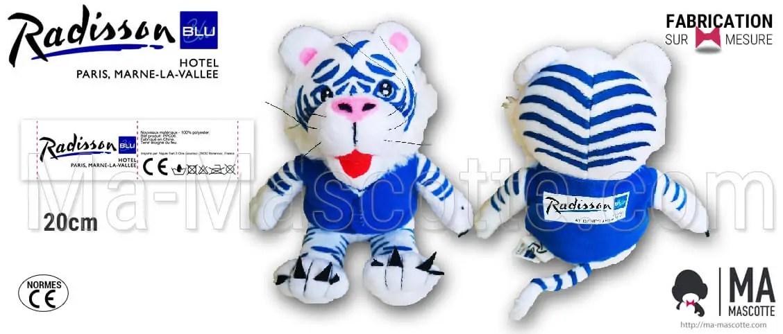 Custom tiger teddy plush toy for Radisson Blue Hotel. Hotel plush supplier. Manufacturer of custom tiger plush.