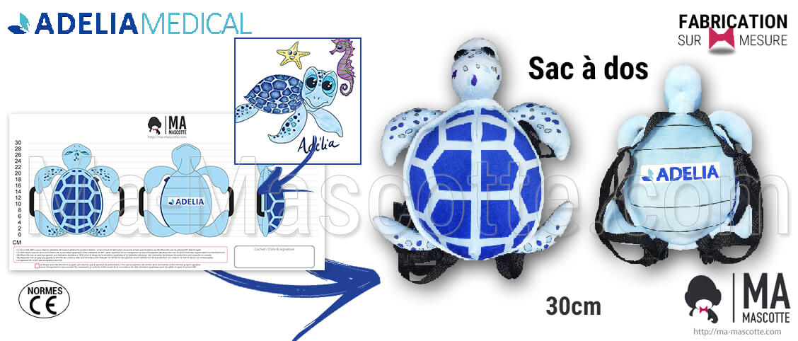 Custom backpack plush in the shape of a blue turtle for the Adelia customer. Creation and design of custom plush.
