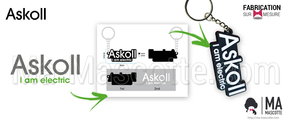 Custom keychains for ASKOLL I am electric customers. Custom manufacturing of a personalized key chain with logo.