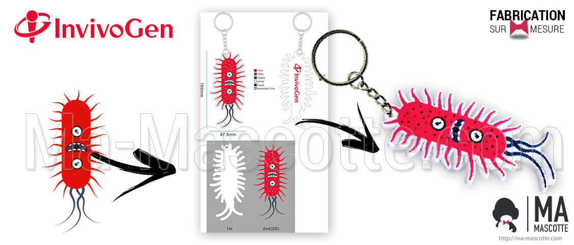 Invivogen custom keychain representing a bacterium or a red virus. Personalized key ring for advertising goodies.