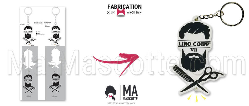Fabrication Porte Clés Lumineux Led Sur Mesure Barbier Lino Coiff