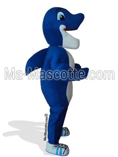 Fabrication Mascotte Sur Mesure dauphin bleu (mascotte animal sur mesure).