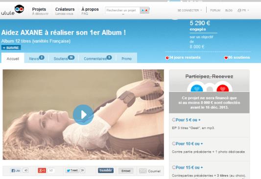Capture d'écran du projet de la chanteuse Axane sur Ullule prise le 13/11/2013