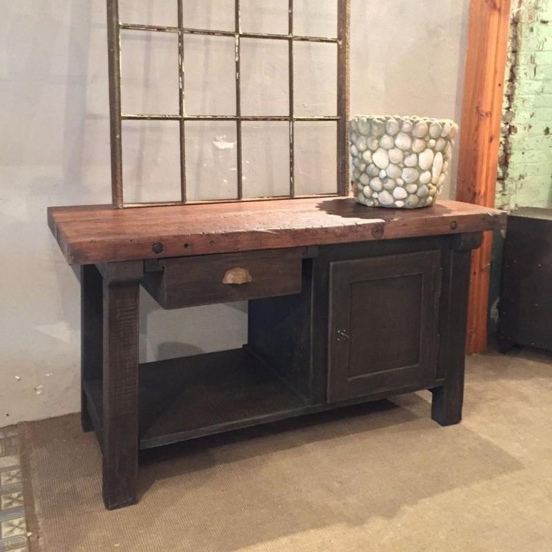 mobilier industriel ancien etabli en bois