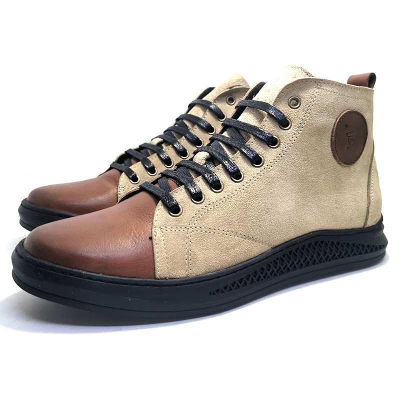 Chaussure basket montante de ville Nubuck-Confort pour homme beige