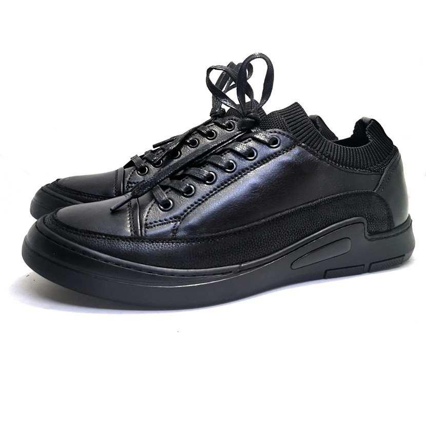 Chaussure homme de style Basket GHIMS-Confort pour homme avec laçage noir