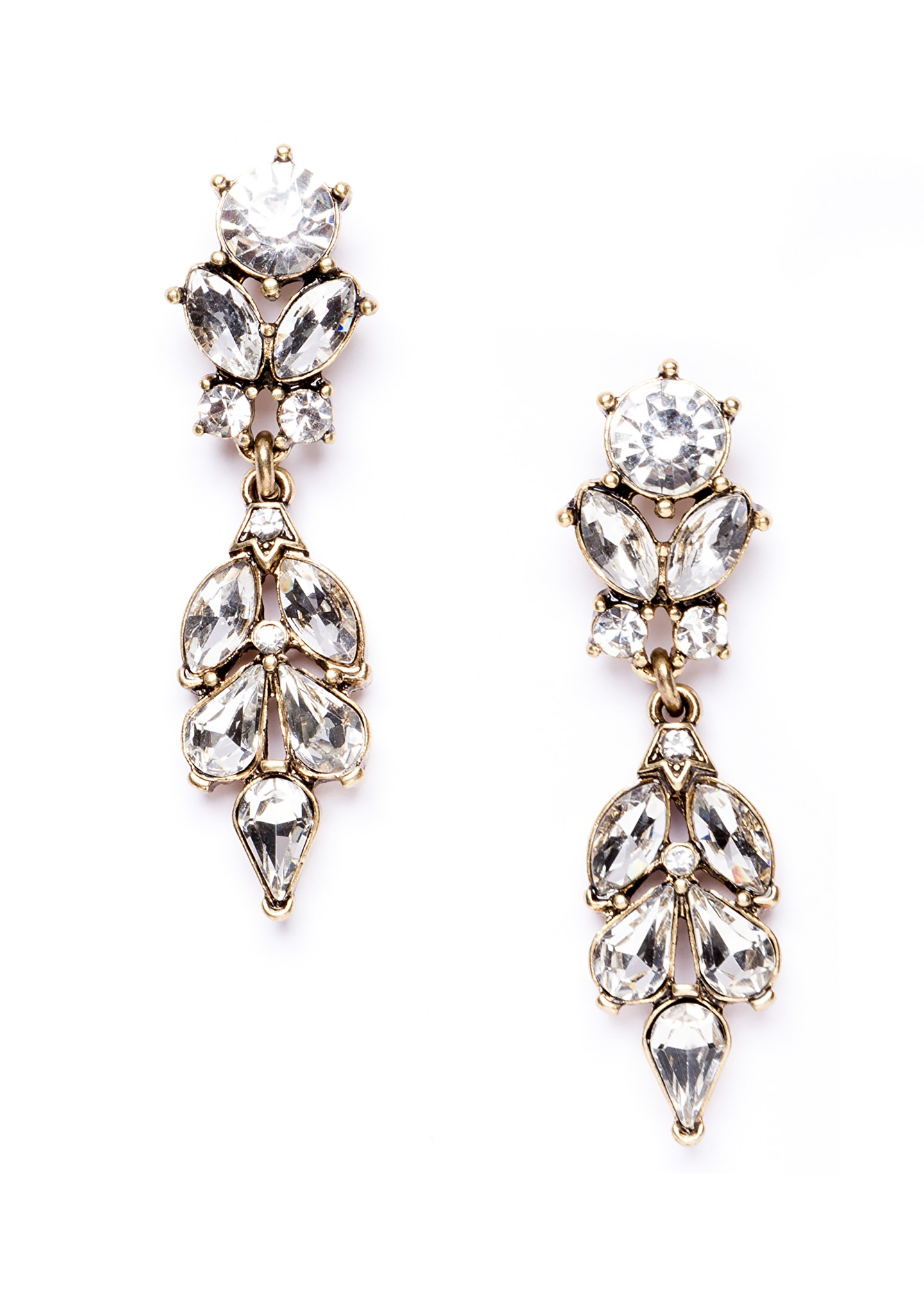 Crystal Fern Statement Earrings In Gold Happiness Boutique