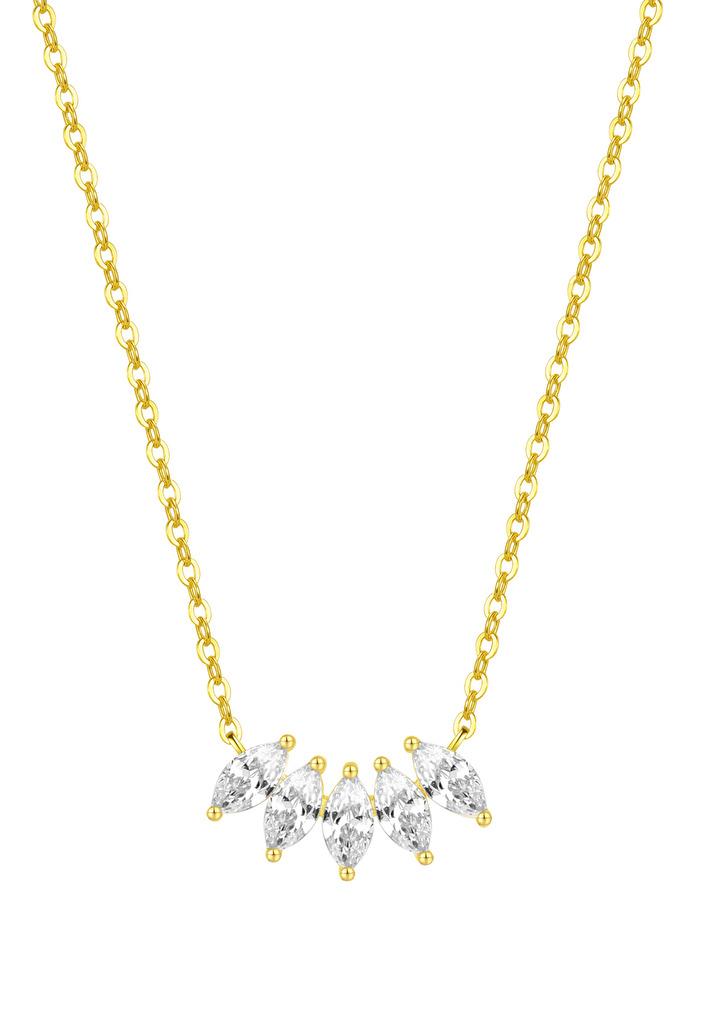 pierre precieuse fleur collier chaine argent massif en or