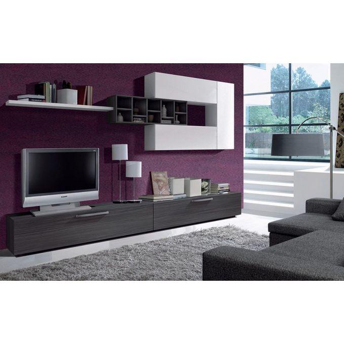meuble tv deco 260 cm gris blanc