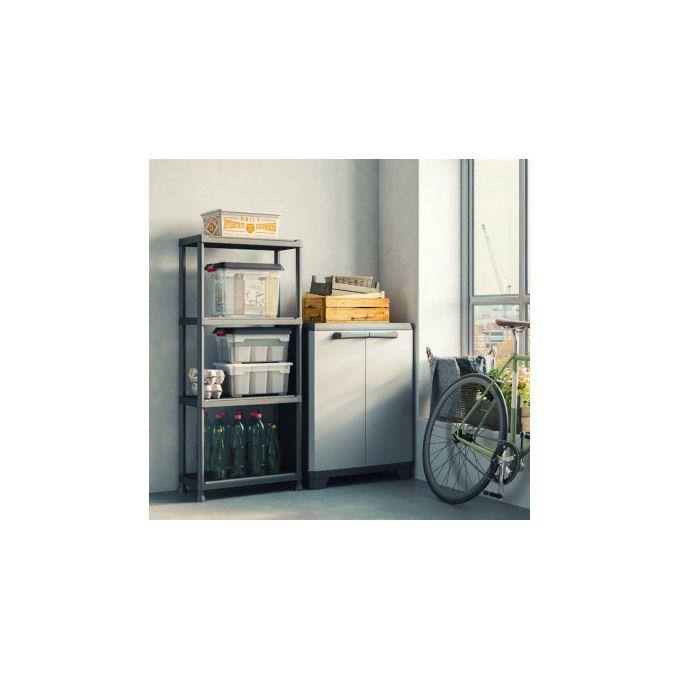 etageres unite de rangement noires a 4 niveaux pour les ateliers les garages et la nouvelle maison