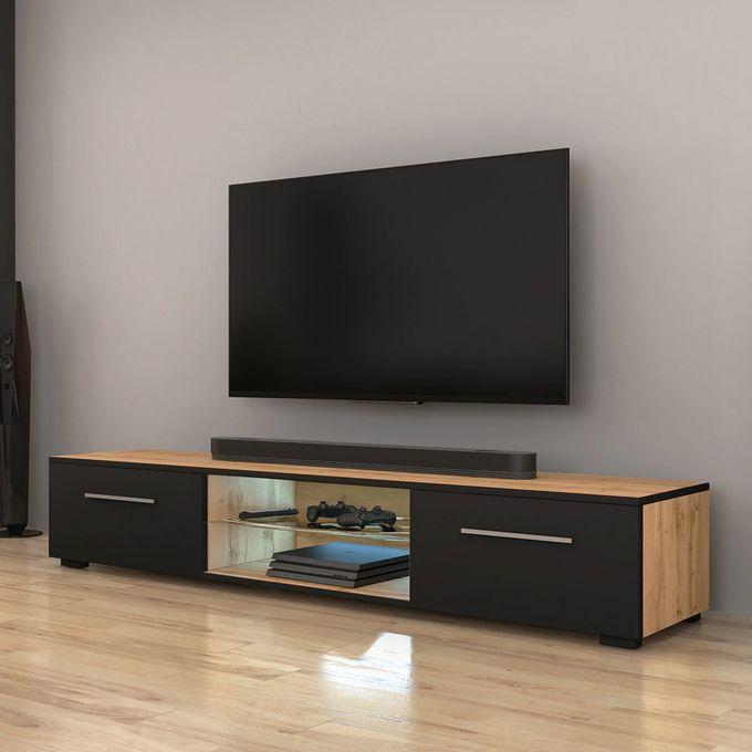 syvis meuble tv banc tv chene wotan noir mat 140 cm