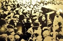 Photo of Gandhi in front of crowd
