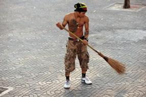 Man sweeping
