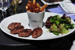 Meatballs, fries, salad