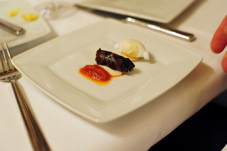 Irish breakfast deconstructed with quail egg