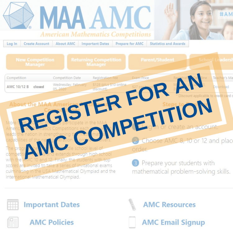 Register for an AMC competition