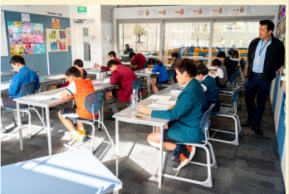 Young students studying