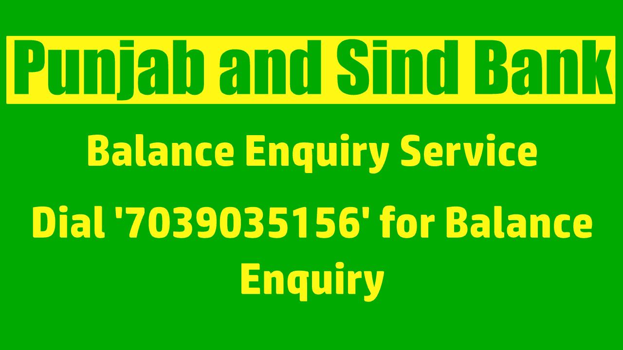 Punjab and Sind Bank balance check