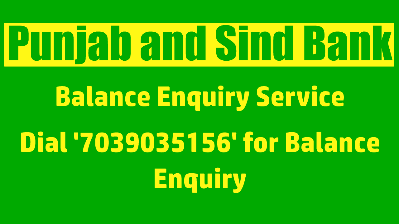 Punjab and Sind Bank balance check