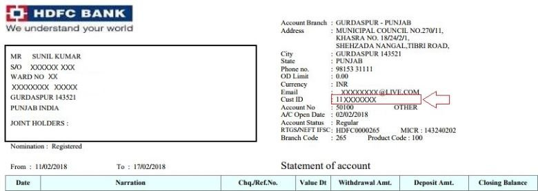 hdfc netbanking customer id
