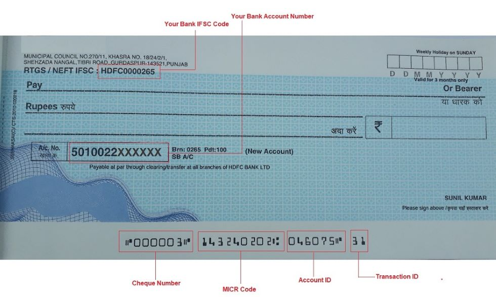 bank cheque details
