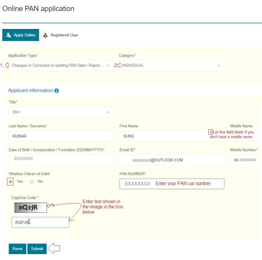 pan card correction online pan card name change address